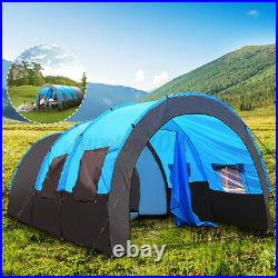 US 8-10 Person Family Camping Tunnel Tent Waterproof Shelter Hiking Double Layer