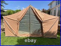 Vintage 1950s large American Vagabond canvas camping tent 6 man event hut space